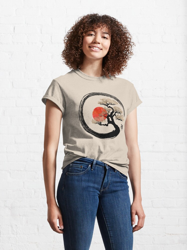Alternate view of Enso Circle and Bonsai Tree on Canvas Classic T-Shirt