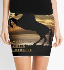 """Horse Shirt, Neighs in the Sunset, """"Always remember your strengths"""" Mini Skirt"""