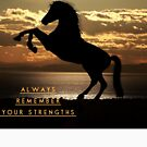 """Horse Shirt, Neighs in the Sunset, """"Always remember your strengths"""" by M. I. Speer"""
