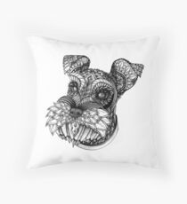 Ornate Schnauzer Throw Pillow
