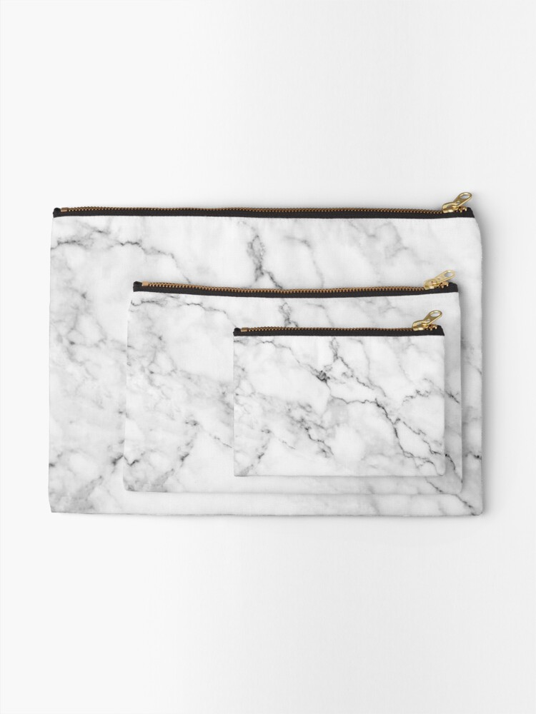 Alternate view of White marble Zipper Pouch