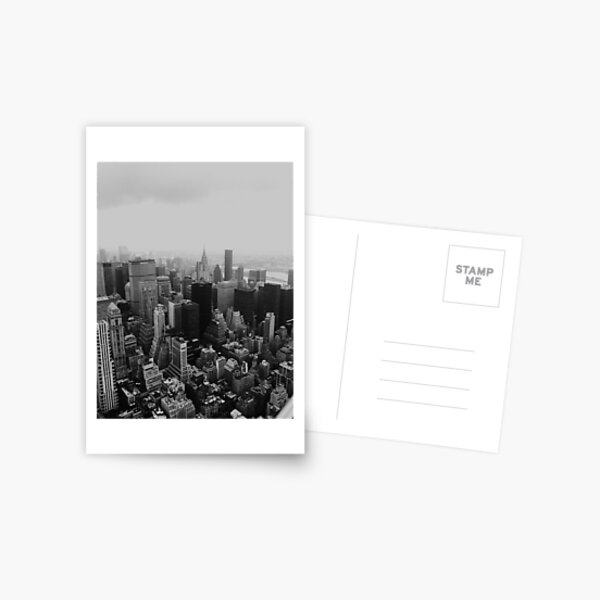 New York City - from the Empire State Black and White Postcard