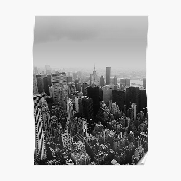 New York City - from the Empire State Black and White Poster