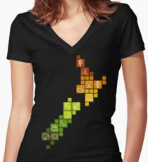 New Zealand Fun Map Women's Fitted V-Neck T-Shirt