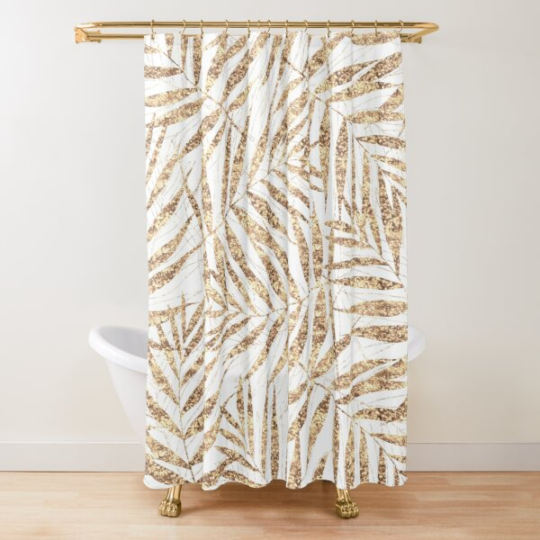 Elegant golden tropical palm leaves design Shower Curtain