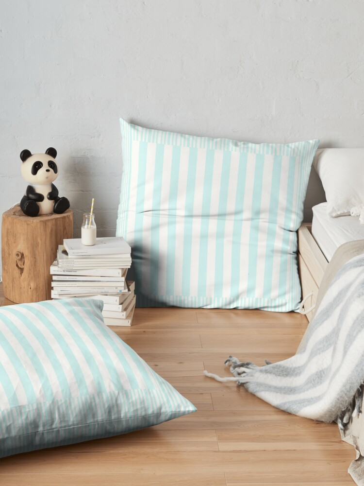 Alternate view of Modern abstract geometric teal white stripes pattern Floor Pillow