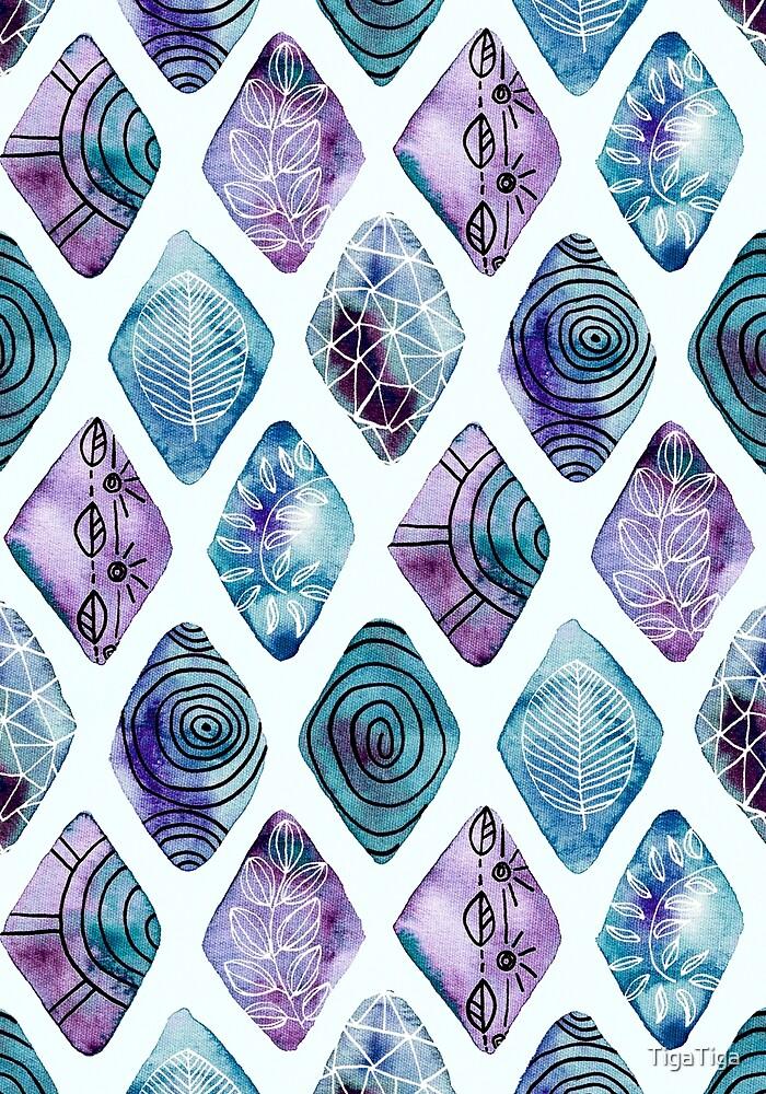 Blue Pattered Watercolor Diamonds  by TigaTiga