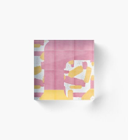 Bold Painted Tiles 01 #redbubble #midmod Acrylic Block
