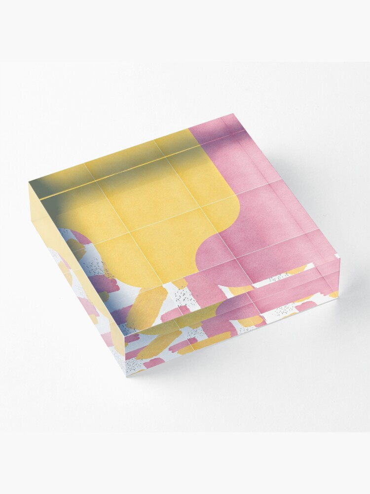 Alternate view of Bold Painted Tiles 03 #redbubble #midmod Acrylic Block