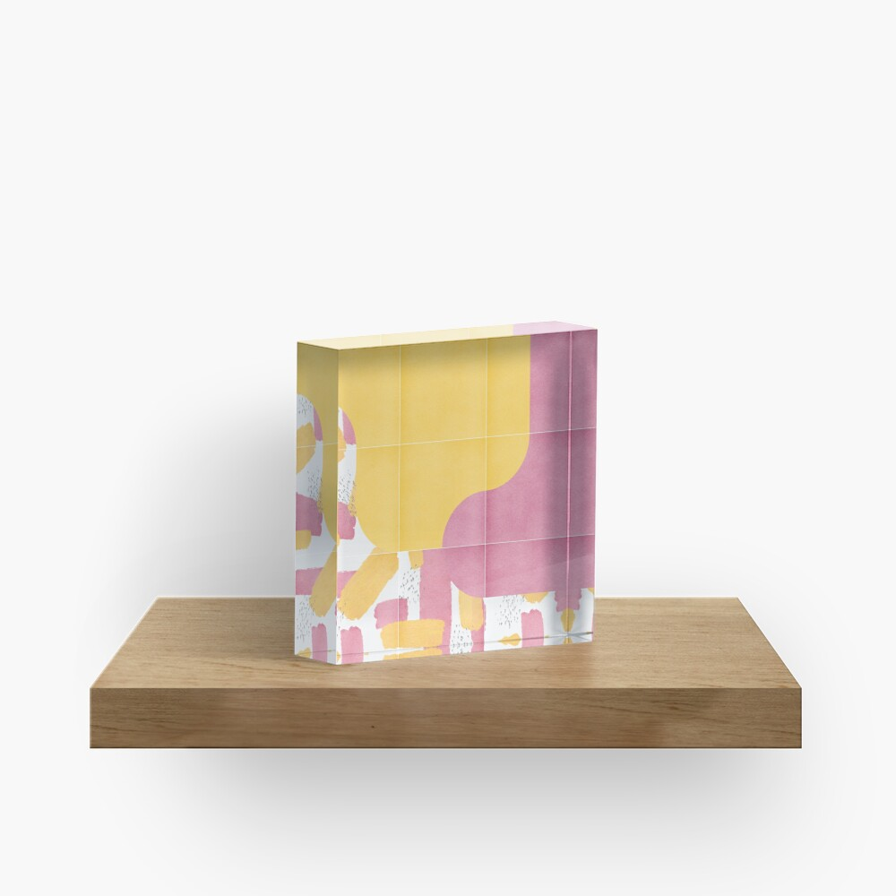 Bold Painted Tiles 03 #redbubble #midmod Acrylic Block