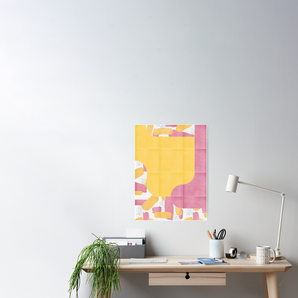 Bold Painted Tiles 03 #redbubble #midmod Poster