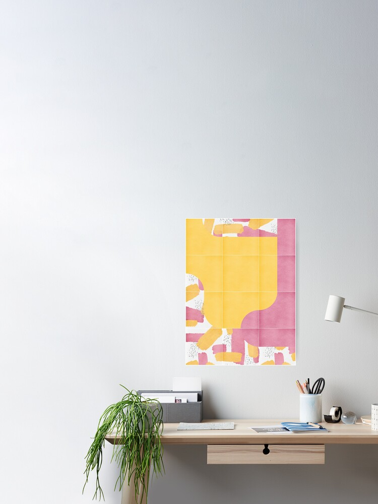 Alternate view of Bold Painted Tiles 03 #redbubble #midmod Poster