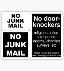 """No door-knockers"" door sign, ""No junk mail"" letter box sign Sticker"