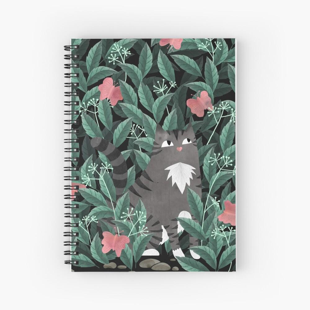 Butterfly Garden (Tabby Cat Version) Spiral Notebook