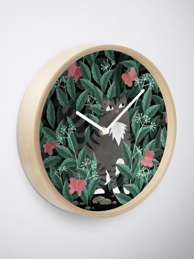 Alternate view of Butterfly Garden (Tabby Cat Version) Clock