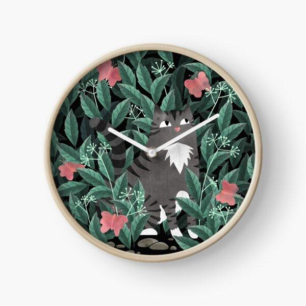Butterfly Garden (Tabby Cat Version) Clock