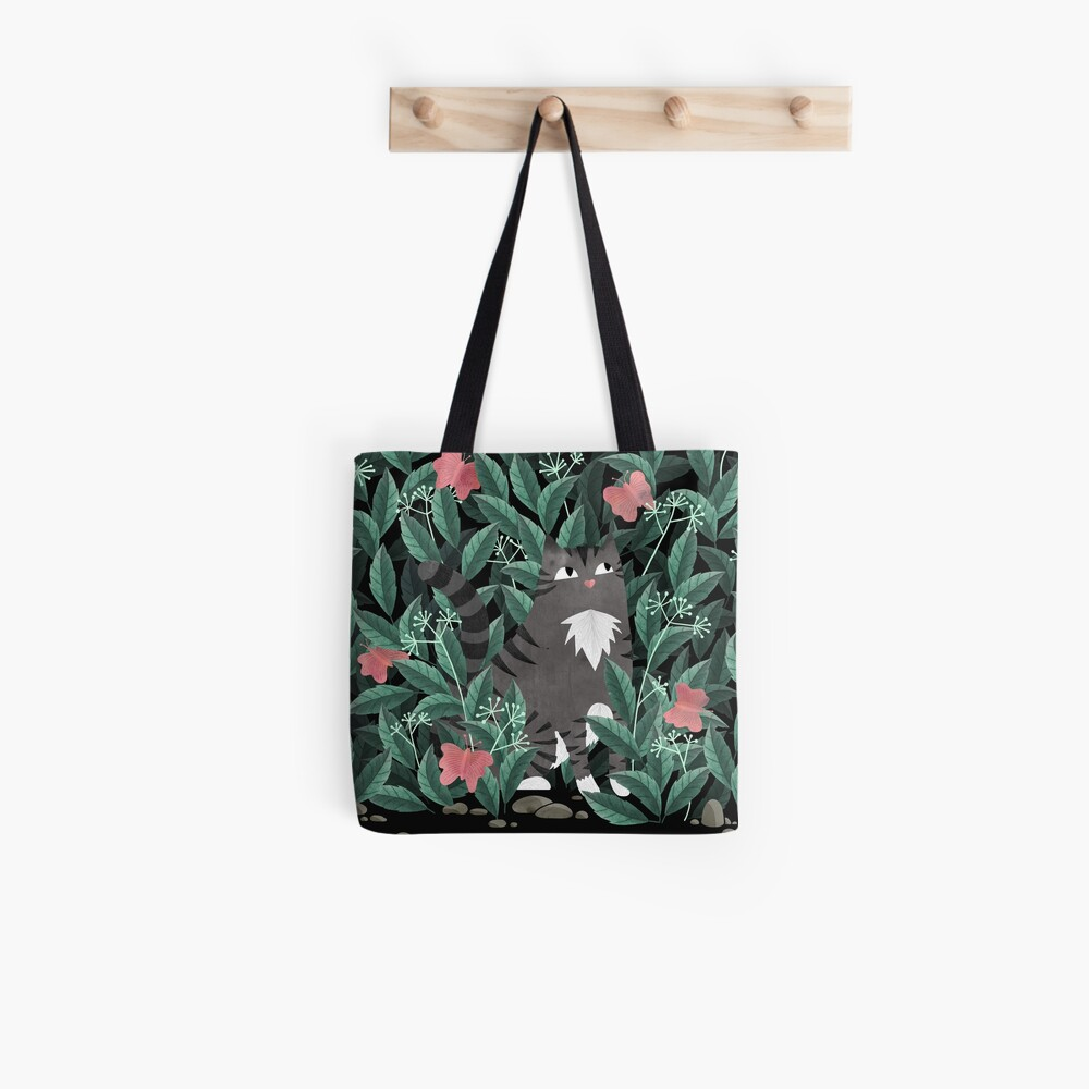 Butterfly Garden (Tabby Cat Version) Tote Bag