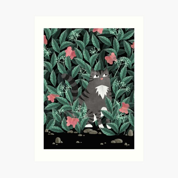 Butterfly Garden (Tabby Cat Version) Art Print
