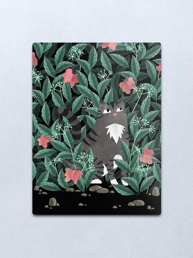 Alternate view of Butterfly Garden (Tabby Cat Version) Metal Print