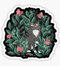 Butterfly Garden (Tabby Cat Version) Glossy Sticker