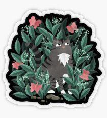 Butterfly Garden (Tabby Cat Version) Transparent Sticker
