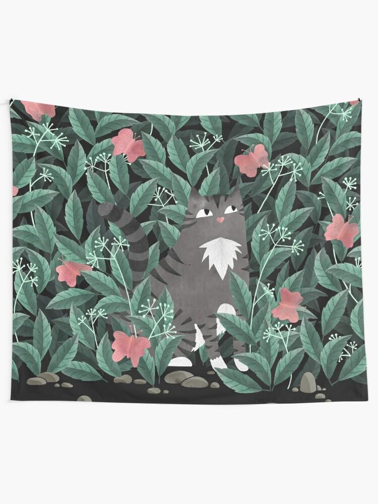 Alternate view of Butterfly Garden (Tabby Cat Version) Tapestry