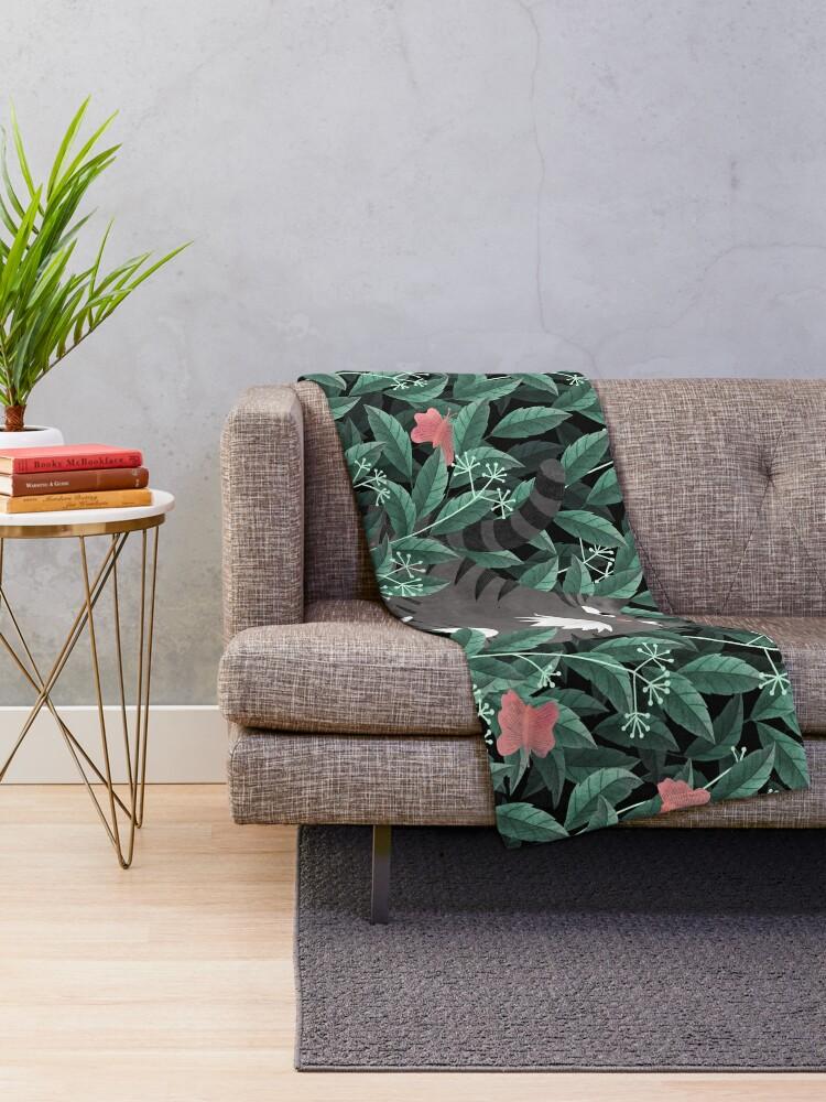 Alternate view of Butterfly Garden (Tabby Cat Version) Throw Blanket