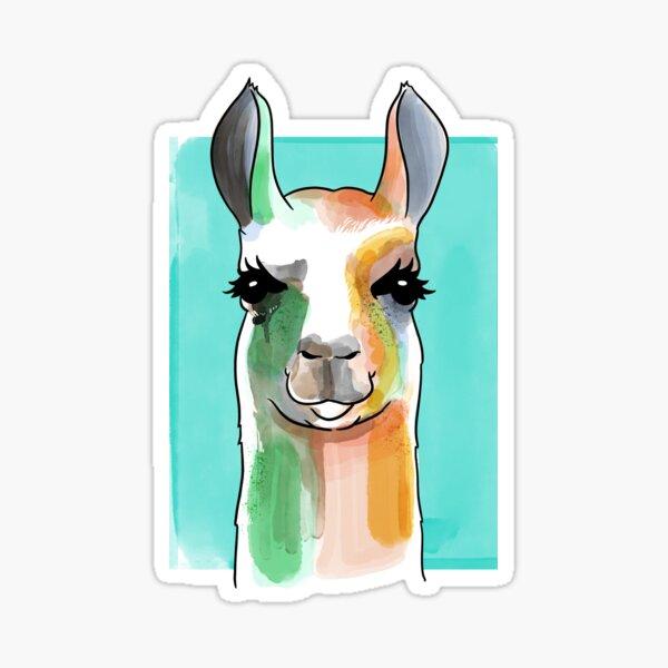 Llama Watercolor Art Sticker