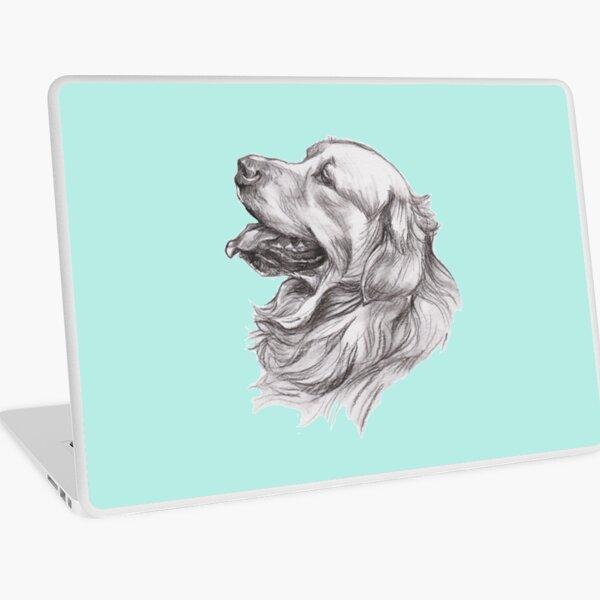 Golden Retriever Dog Portrait Drawing Laptop Skin