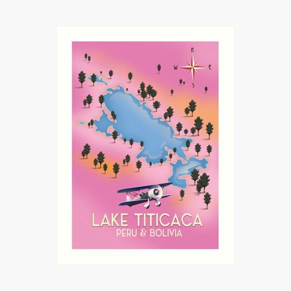 Lake Titicaca Map Travel poster Art Print