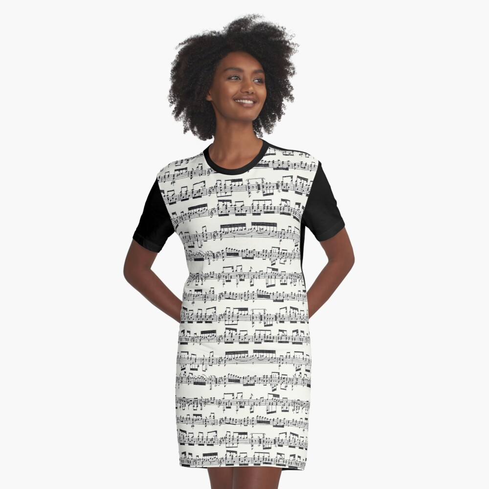 Sheet Music on Ivory Graphic T-Shirt Dress