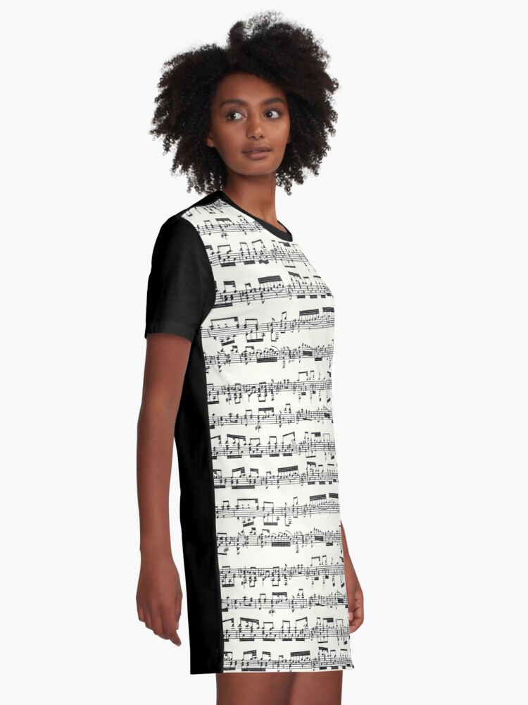 Alternate view of Sheet Music on Ivory Graphic T-Shirt Dress