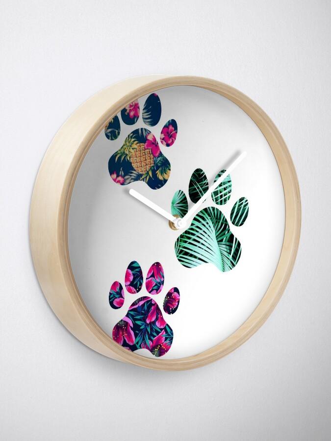 Alternative Ansicht von Tropisches Pfotenabdruck-Trio Uhr