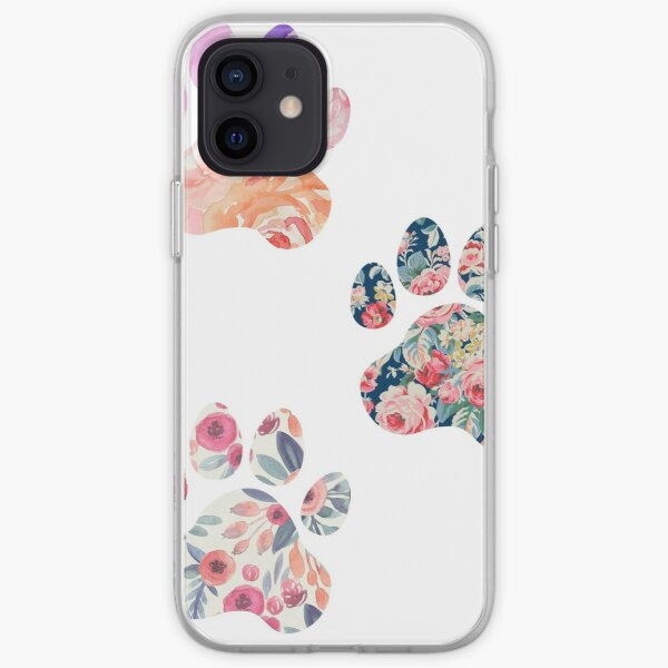 Floral Paw Print Trio iPhone Soft Case