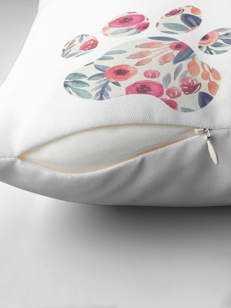 Alternate view of Floral Paw Print Trio Throw Pillow