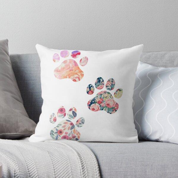 Floral Paw Print Trio Throw Pillow