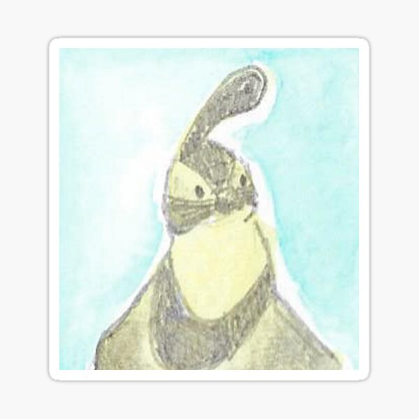 Gambel's Quail in Watercolor, Blue, Yellow Sticker