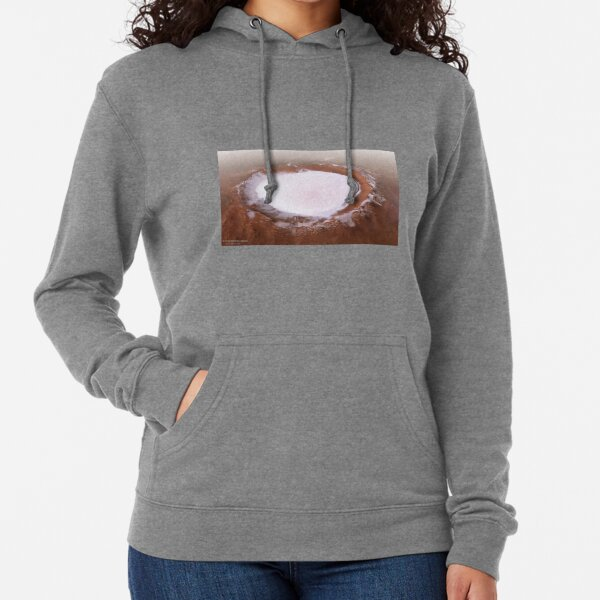 The Martian Mystery: Ice Crater That Never Melts Lightweight Hoodie