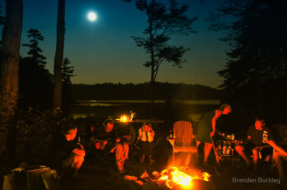 Quot Cottage Campfire Ontario Canada Quot By Brendan Buckley Redbubble