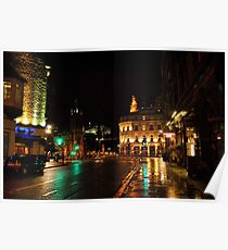 Edinburghs West End at Night Poster