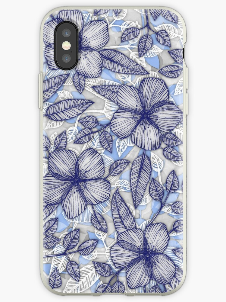 Indigo Summer - ein handgezeichnetes Blumenmuster von micklyn