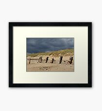 Weathered remains, Spurn Point Framed Print