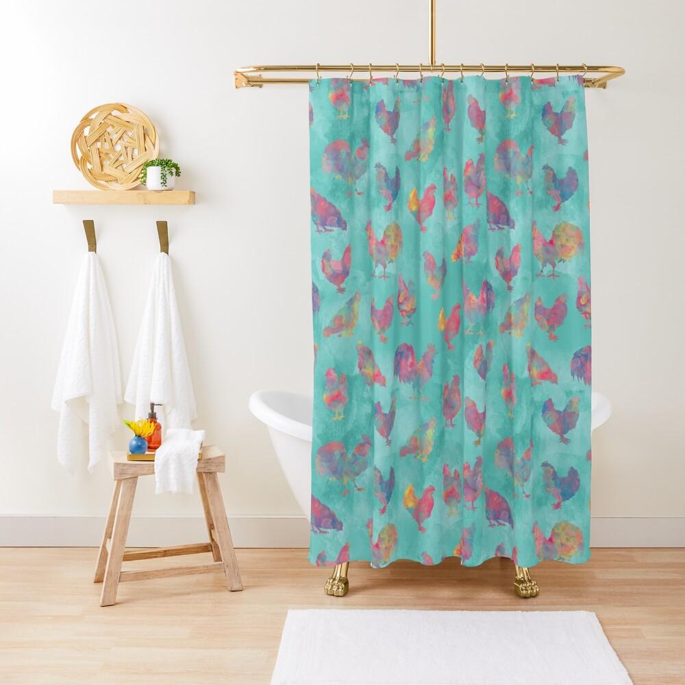 Rainbow Chickens Shower Curtain