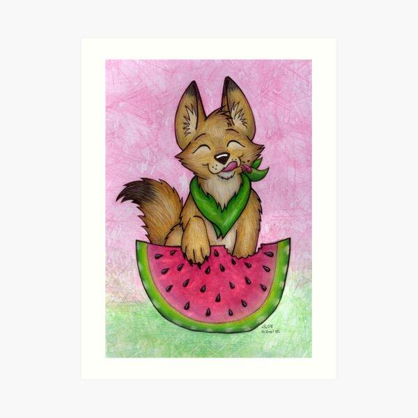 Melon Coyote - A Summertime Treat! Art Print
