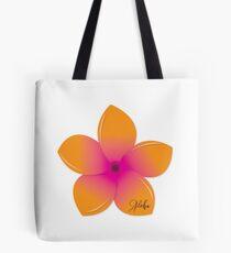 Orange Pink Plumeria Tote Bag
