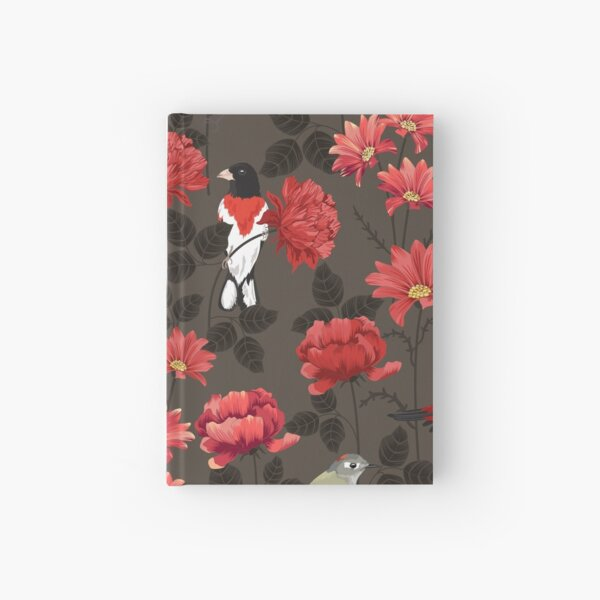 Red Roses and Birds Hardcover Journal