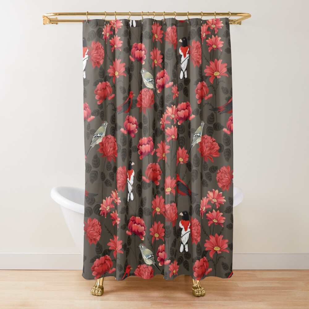 Red Roses and Birds Shower Curtain