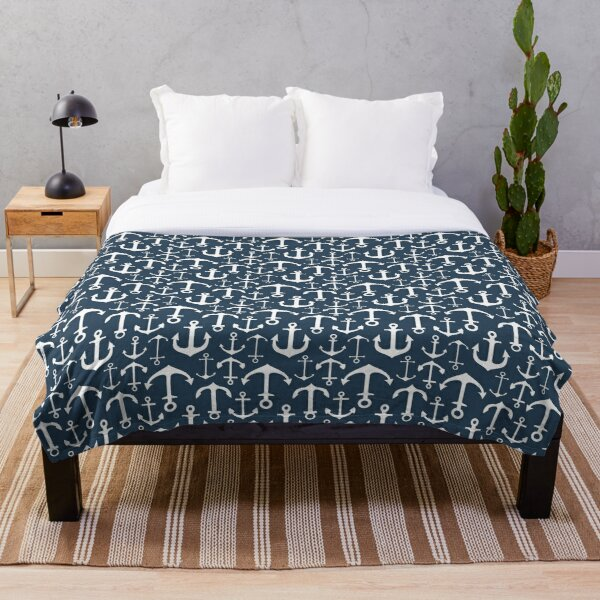 Anchors on Navy Throw Blanket
