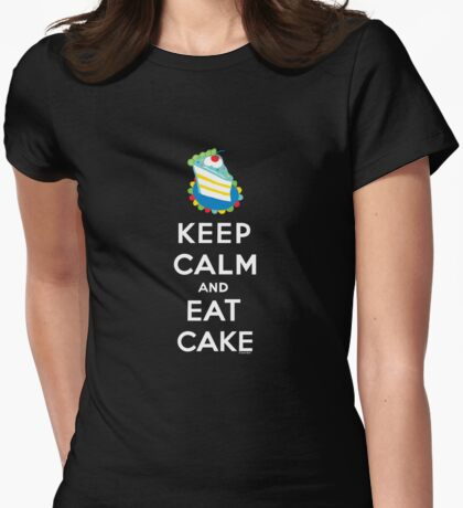 Keep Calm and Eat Cake - on black T-Shirt