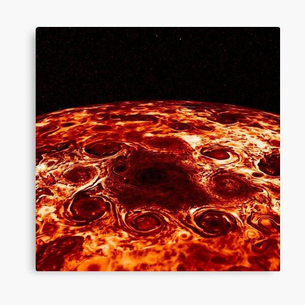 JIRAM imagery of Jupiter's north pole and its hypnotic, seemingly stable arrangement of eight cyclones around a central, large vortex Canvas Print